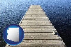 arizona map icon and a boat dock on a blue water lake