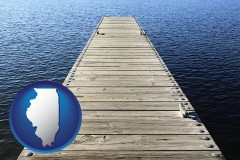 illinois map icon and a boat dock on a blue water lake