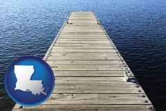 louisiana map icon and a boat dock on a blue water lake