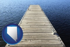 nevada map icon and a boat dock on a blue water lake