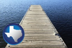 texas map icon and a boat dock on a blue water lake