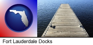 Fort Lauderdale, Florida - a boat dock on a blue water lake